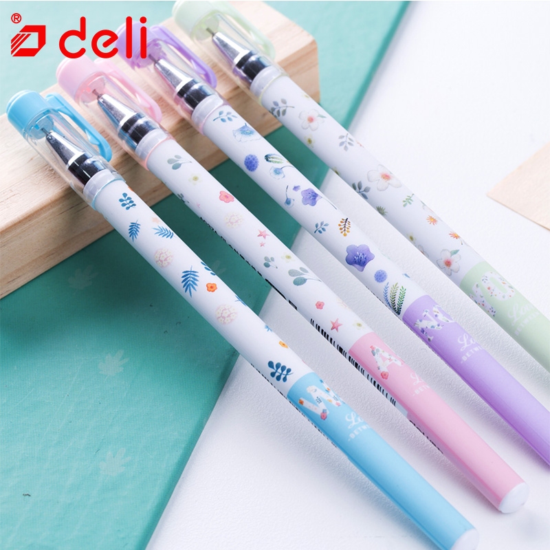 Deli 12pcs Plastic Ink Gel Pen Cute Kawaii Cartoon Gel Pen 0.38/0.35mm Stationery Student Pen For Writing School Office Supplies 3pcs set kacogreen liquid ink gel pen plastic student office writing pens black blue red ink school supplies stationery