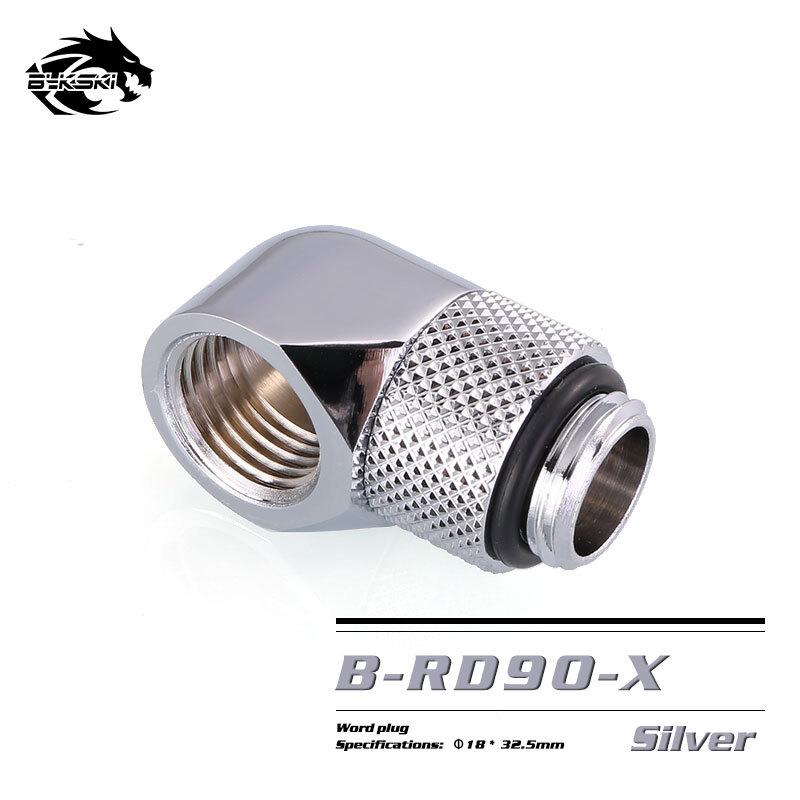 BYKSKI OD14mm Hard tube fitting hand compression fitting G1/4'' 90 degree Rotary Fitting water cooling Adaptors B-RD90 barrow white black silver g1 4 3 8id x 1 2od 9 5 x 12 7mm tubing hand compression fittings water cooling fitting thkn 3 8 b03