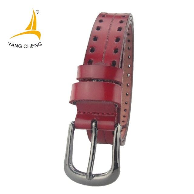 f8c5600ed08  CNYANGCHENG  3 cm rouge trous en cuir souple femmes ceintures designer  ceintures en cuir