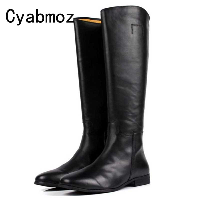 a0fd86e232d Cyabmoz Fashion British High Quality Genuine Leather Men Mid Calf Long  Boots Zip Shoes Man Black Luxury Riding Motorcycle Boots