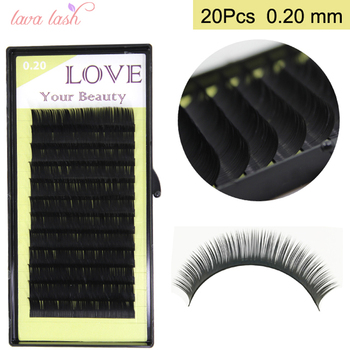 Free Shipping 20 trays Wholesale Price 0.20mm Korea Silk Black Material Eyelash Extensions False Lashes private label