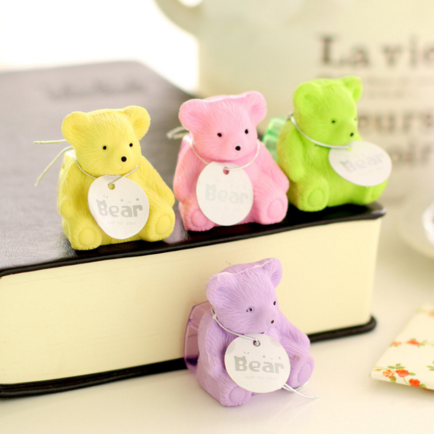 1pc/lot Kwaii 3D Animal Cute Cartoon Bear Eraser Children Stationery Gifts Pencil's Eraser With Sharpener Students' Reward Gifts