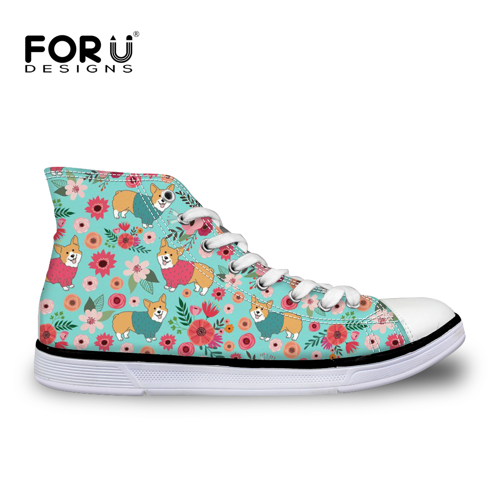 FORUDESIGNS Flower Cute Dogs Canvas Shoes Teenagers Girls High Top Classic Vulcanize Shoes For Ladies Women Fashion Sneakers New