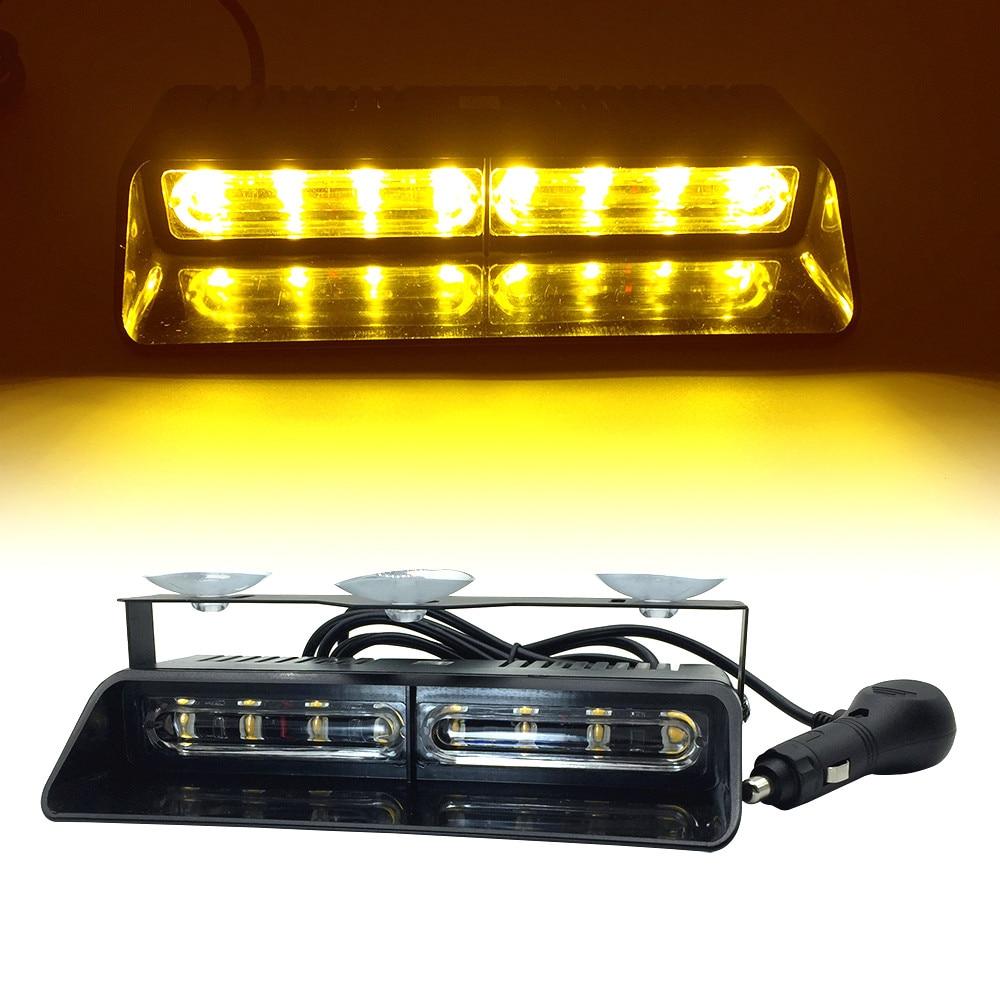 HEHEMM 4 LED Car Emergency Warning Dashboard Dash Visor Strobe Lights Amber