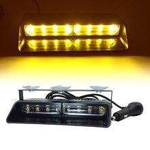 12 V Spie Di Emergenza Auto Cruscotto Del Precipitare della Visiera Sucker Polizia LED Strobe Lampada 8LED Ambra Rosso Blu luce del Flash