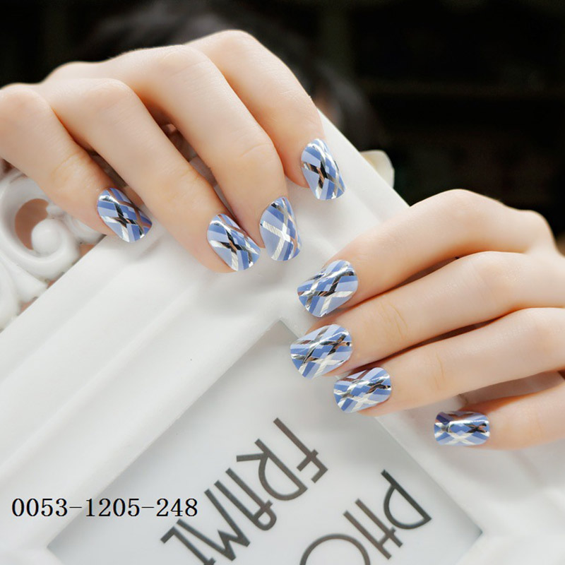 Women Fashion <font><b>3D</b></font> Short Size Artificial Nail Ladies <font><b>Sexy</b></font> Simple Color Nail Art Tips with Glue Girls Cute <font><b>Cartoon</b></font> Fake Nails image