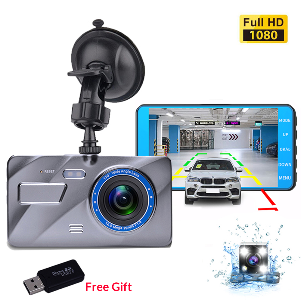 Car DVR Camera Dash-Cam G-Sensor Video-Registrars Dual-Lens Night-Vision Front Full-Hd