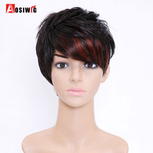 AOSI WIG Heat Resistant Synthetic Short Pixie Cuts Full Wigs for African American Black Women Female Wig Natural Hair(China)
