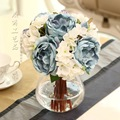 Hot sell 1 bouquet Hydrangea and rose silk flower artificial flowers for wedding and home decoration bride hand bouquet