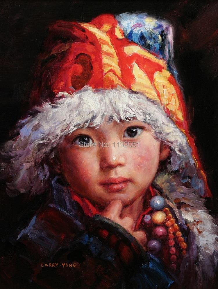 plátno tiskne domácí obtisk portrét obrázky moderní umění portrét čínských dětí s červeným kloboukem figurativní obrázky orientální