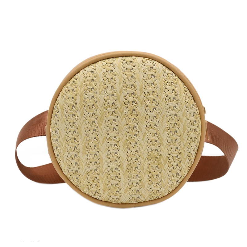 Small Straw Belt Bag Waist Bags Round Fanny Pack Women Leather Handbag Summer Female Mini Woven Beach Rattan Bag