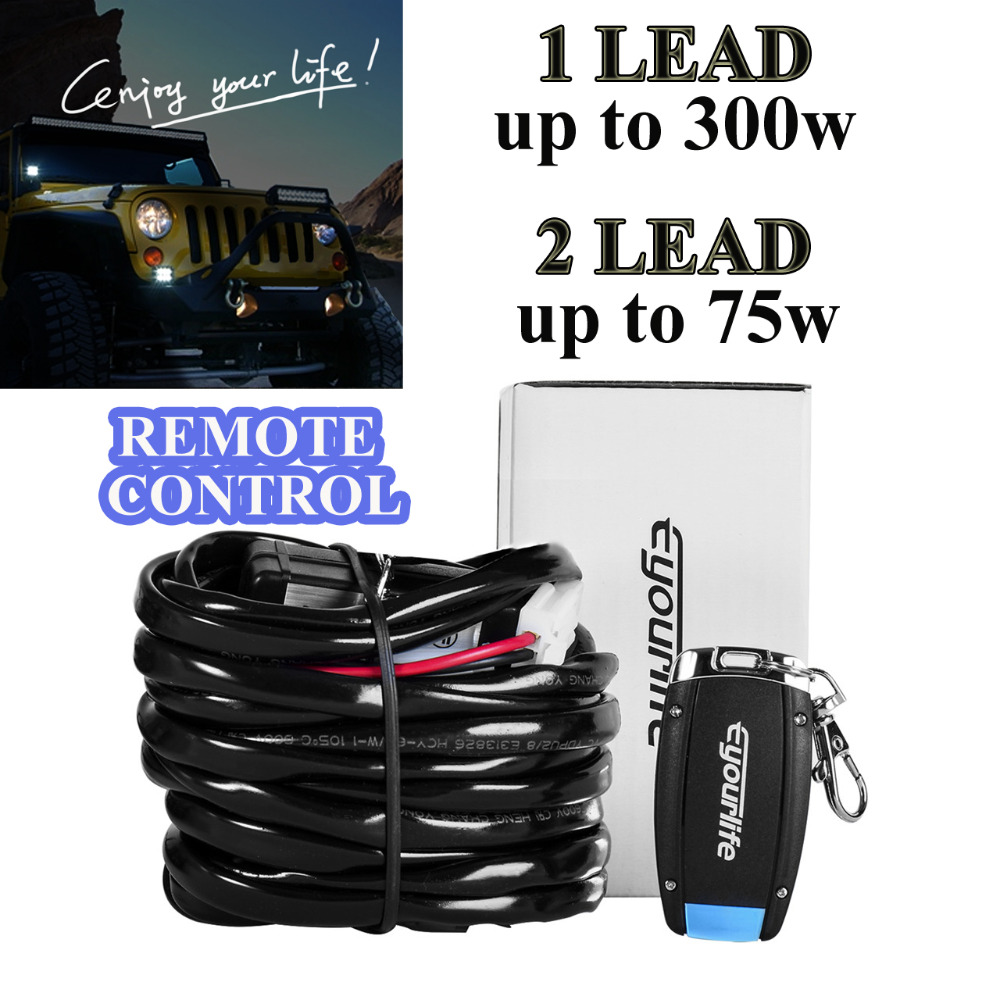 Eyourlife Wireless 9ft LED <font><b>Light</b></font> Bar Wiring Harness Strobe Wiring Kit ON/OFF Strobe remote Control Switch 2 LEAD
