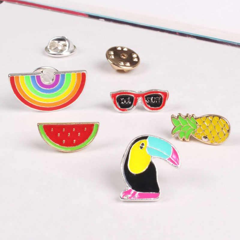 1 PC Fashion Baru Buah Rainbow Woodpecker Bros Tombol Pins Mantel Denim Lencana Topi Tas Hadiah Perhiasan untuk Anak Perempuan aksesoris