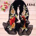 La orden mínima $5 2014 Accesorios de moda primavera verano mujeres bufanda pashmina mantón floral de la gasa de seda del cabo tippet silenciador SW057