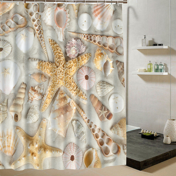 Shower Curtain Sea Shell Starfish 3d Print Waterproof Fabric Curtain for Bathroom Decorative Set With 12 Hooks