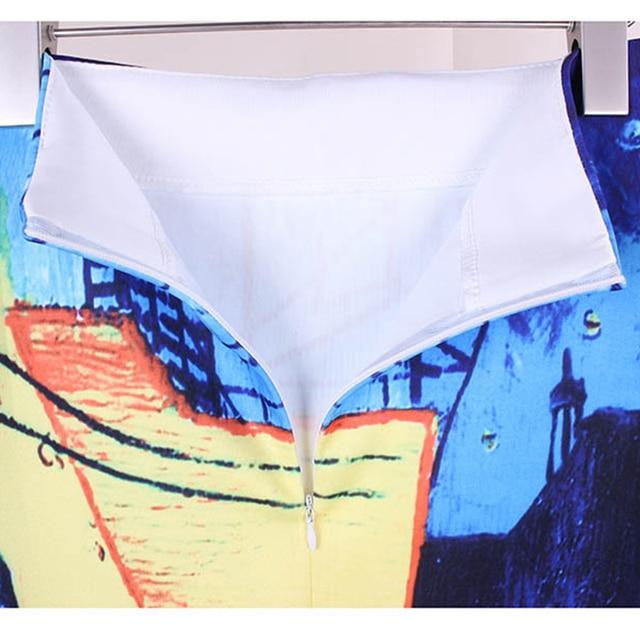 Women Spring Summer Style Pencil Skirt High Waist Skirts Vintage Elegant Bodycon Painting Print Midi Skirt 5