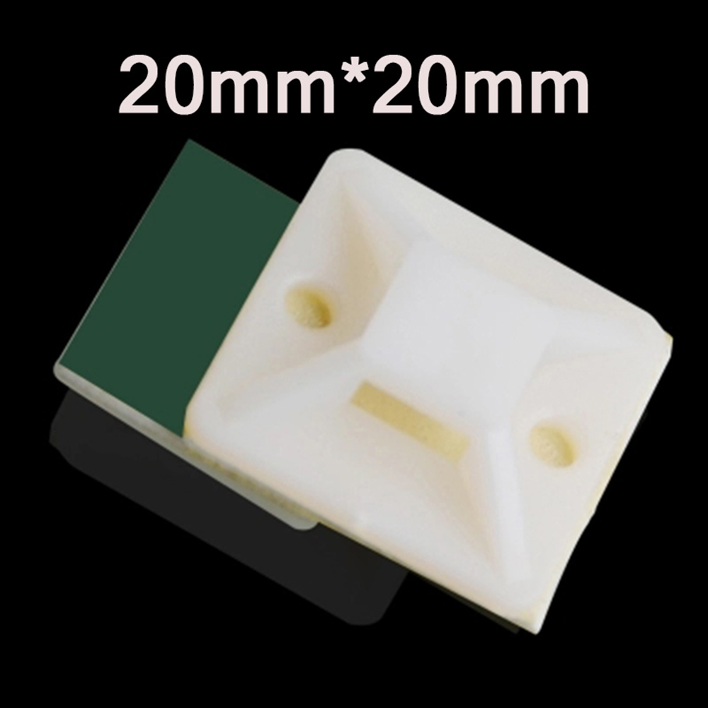 20mm x 20mm SELF ADHESIVE STICK ON CABLE TIE WIRE BASE MOUNTS BLACK WHITE