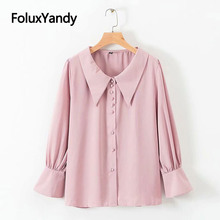 2019 New Spring Chiffon Blouse Office Lady Flare Sleeve Shirts Women Elegant Shirt Blusa KKFY3140