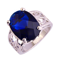 Wholesale Solitaire Oval Cut Blue Sapphire Quartz 925 Silver Ring Size 6 7 8 9 10 Unisex Jewelry For Party Rings Free Shipping