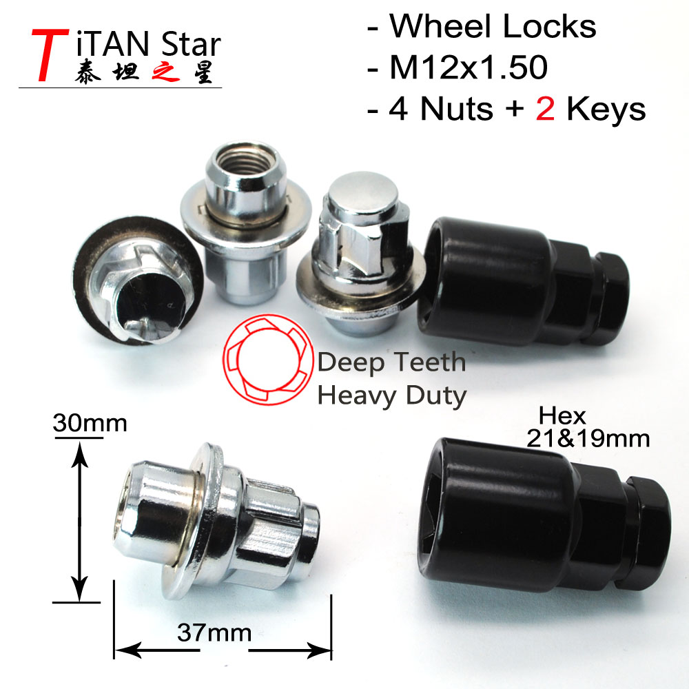 20 TPi Black Alloy Wheel Nut Bolt Covers 19mm Hex with Removal Tool