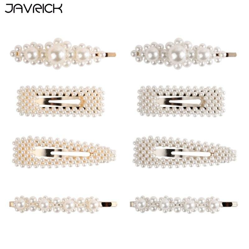 4 Pcs/set Artificial Pearl Hairpin Bangs Clip Fashion Wild Women Girls Hair Clips Bride Barrettes Handmade Ornaments