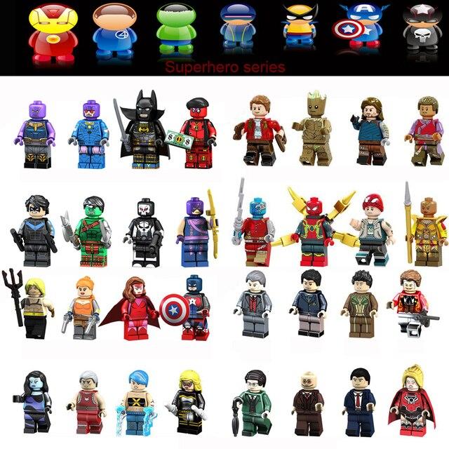 3-year-old brinquedos para crianças blocos de construção de super herói morcego aranha capitão Dr. Gru robô palhaço crianças montado compatibe JM-10