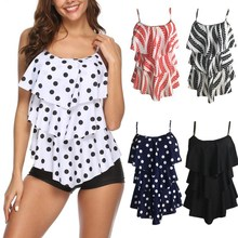 2019 Swimwear Polka Dot Swimsuit Women Tankinis Set Ruffled Push Up bathing suit Biquinis Summer Beach Wear Female