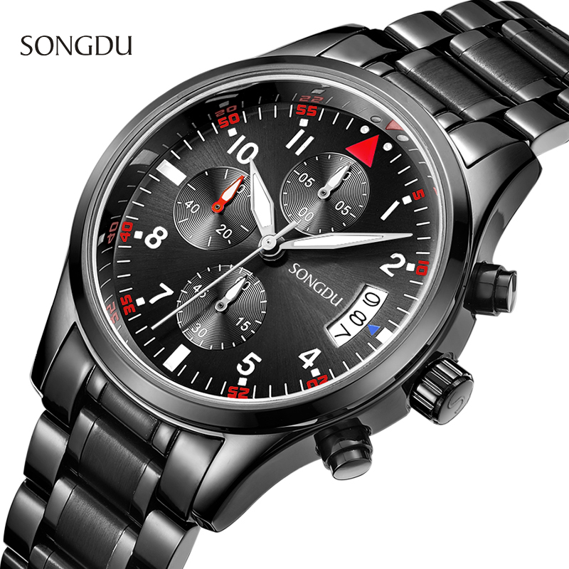 SONGDU Brand Luxury Full stainless steel Watch Men Business Casual quartz WristWatch 30M waterproof Military Men Watches Relogio 2016 biden brand watches men quartz business fashion casual watch full steel date 30m waterproof wristwatches sports military wa