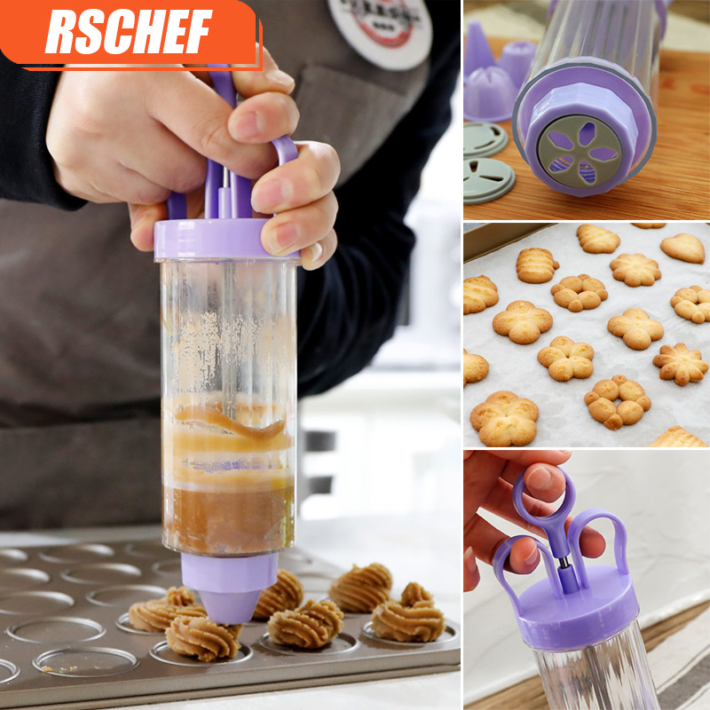 RSCHEF Icing Piping Syringe Gun + 8 Nozzles Fondant, Cookie Presses Sets, Cake Extruder Machine Making Gun,Biscuit Maker