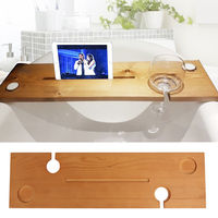 Bathroom Wooden Bath Caddy Tray Bathtub Board Bath Shelf Wine Tablet Holder Bathtub Support Bridge Rack Light Oak