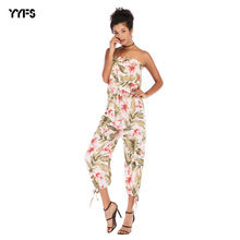 2019 New Womens Jumpsuit Fashion Chiffon Sexy Strapless Women Overalls Rompers Print Combinaison Femme