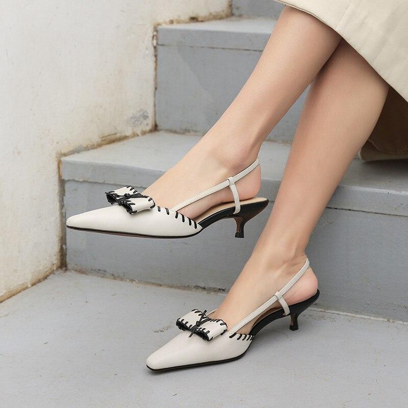 MORAZORA 2019 nueva llegada sandalias de mujer zapatos de cuero genuino bowknot slip on summer stiletto tacones zapatos de fiesta zapatos de boda-in Sandalias de mujer from zapatos    3