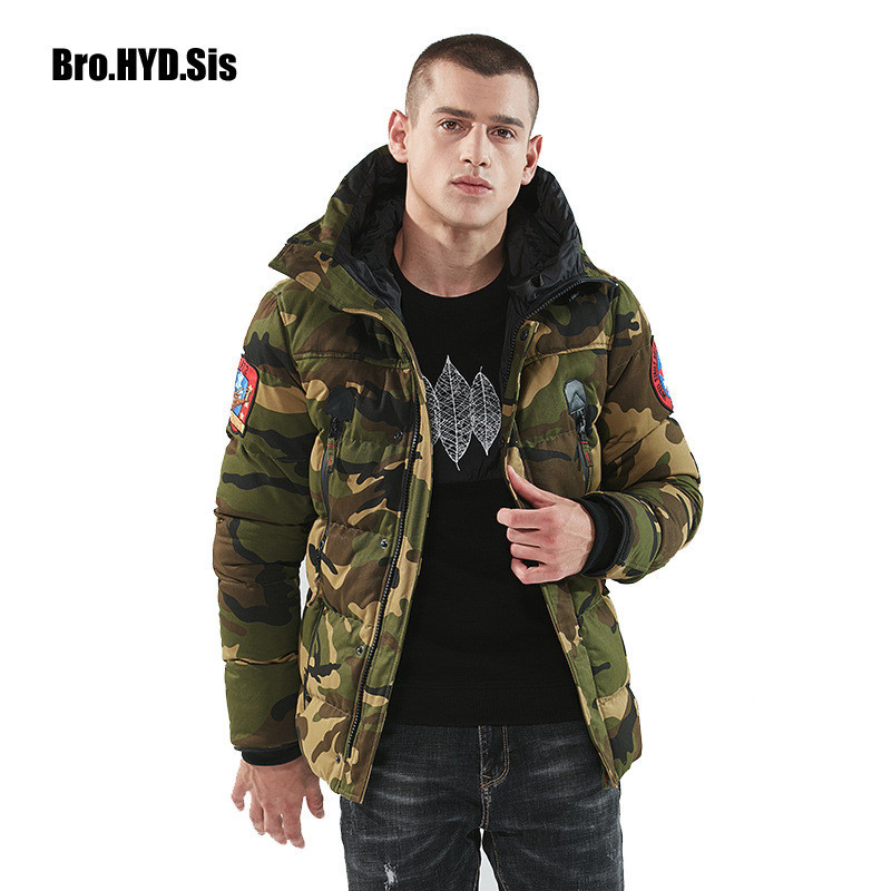 Winter Camouflage Green Parka Jacket Cotton Paddded Men Hooded Coat Zippered Anorak Coat with Hood Windbreaker Male Clothing