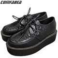 Men Platform Lace Up Shoes Retro Trendy Flat Creepers Goth Punk Rock Street All-match Classical Black Creeper Shoes For Men