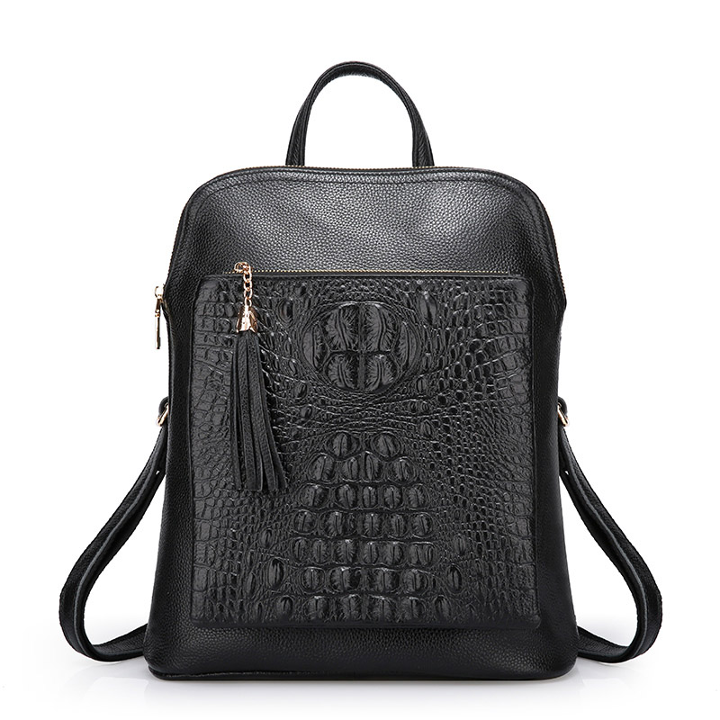 LUODUN Genuine Leather shoulder bag female bag the first layer of leather ladies bag dual wild simple school wind small backpack aetoo first layer of leather shoulder bag female bag korean version of the school wind simple wild casual elephant pattern durab