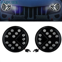 1 Pair Black 7inch Arrow Style Round Hi Lo Beam LED Headlights For Jeep Wrangler TJ