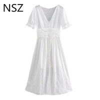 NSZ Women Cotton White Summer Dress Embroidery Hollow Out Button Short Sleeve A Line Midi Dress