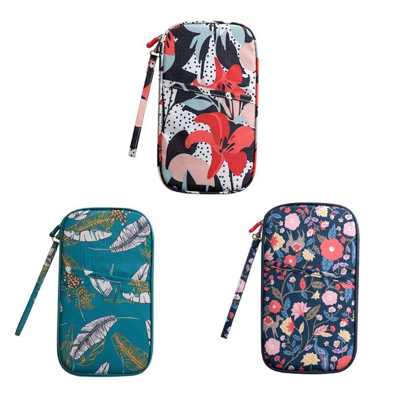 Fashion Floral Printed Travel Bag Wallet Purse Document Organizer Zipped Passport Tickets ID Holder  Unisex