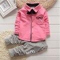 2016 Korean Baby Boy Clothing Sets children Bow tie T-shirts glasses top pants kids cotton cardigan 2pcs boys spring sets