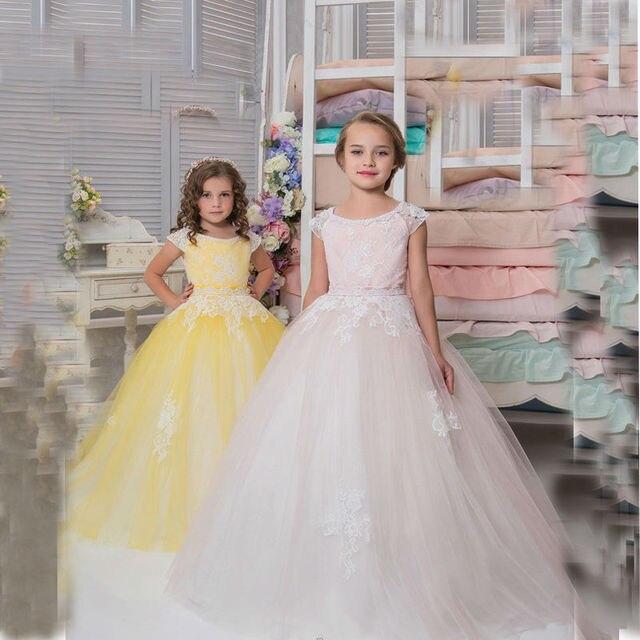 encaje vestidos de flores de niña para bodas tobillo longitud madre