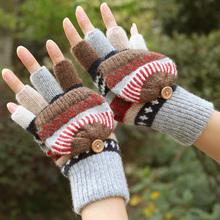 Zimowe rękawiczki damskie rękawiczki cieplejsze rękawiczki bez palców wełna Plus aksamitne pogrubienie ciepłe rękawiczki z odsłoniętym palcem zimowe damskie rękawiczki tanie tanio KLDYA Dla dorosłych CN (pochodzenie) WOMEN Wool Cashmere Koral polar Patchwork Nadgarstek Moda knitted gloves fashion winter glove