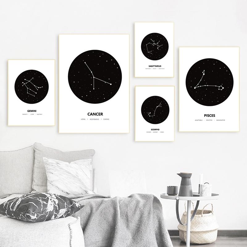Black White Geometric Constellation Canvas Painting