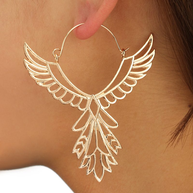 Fashion Angle Wings Hoop Earring for Women Hollow Out Feather Circle Ear Drop Oorbellen Voor Vrouwen Brincos 2018 Wholesale