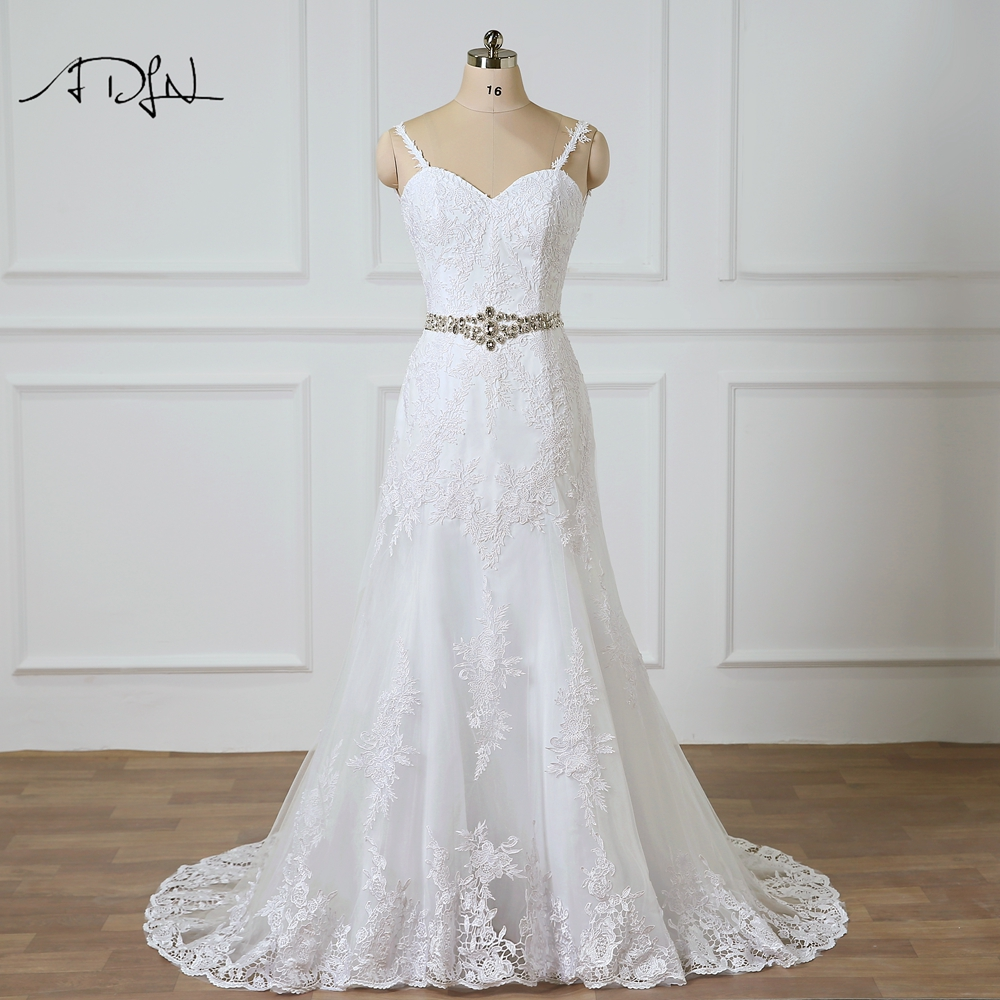Spaghetti Strap Lace Mermaid Wedding Gowns: ADLN Chic Mermaid Wedding Dresses With Rhinestones