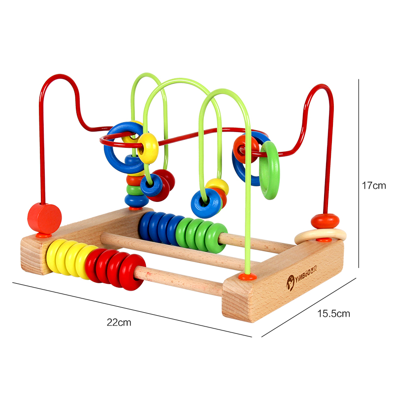 Wooden Baby Kids Math Toy Counting Circles Bead Abacus Wire Maze Roller Coaster Around Beads Wire Maze Educational Toys boy girl