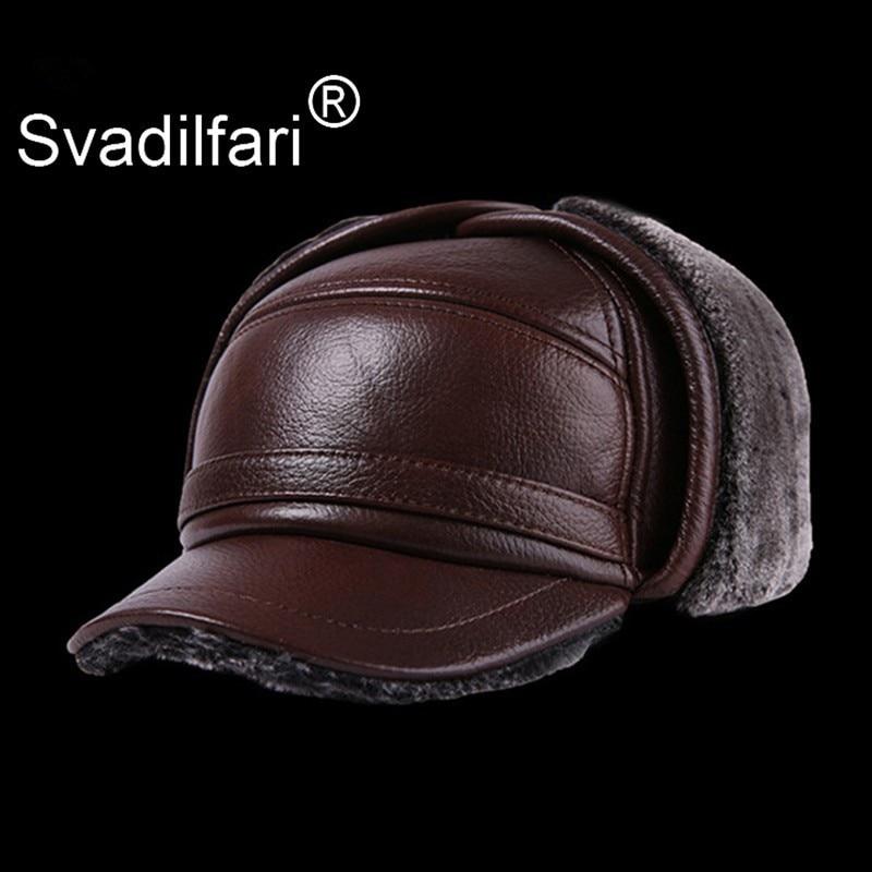Gorra De béisbol De Cuero grueso para hombre De invierno con orejas cálidas sombreros De papá Sombrero De Cuero del Hombre