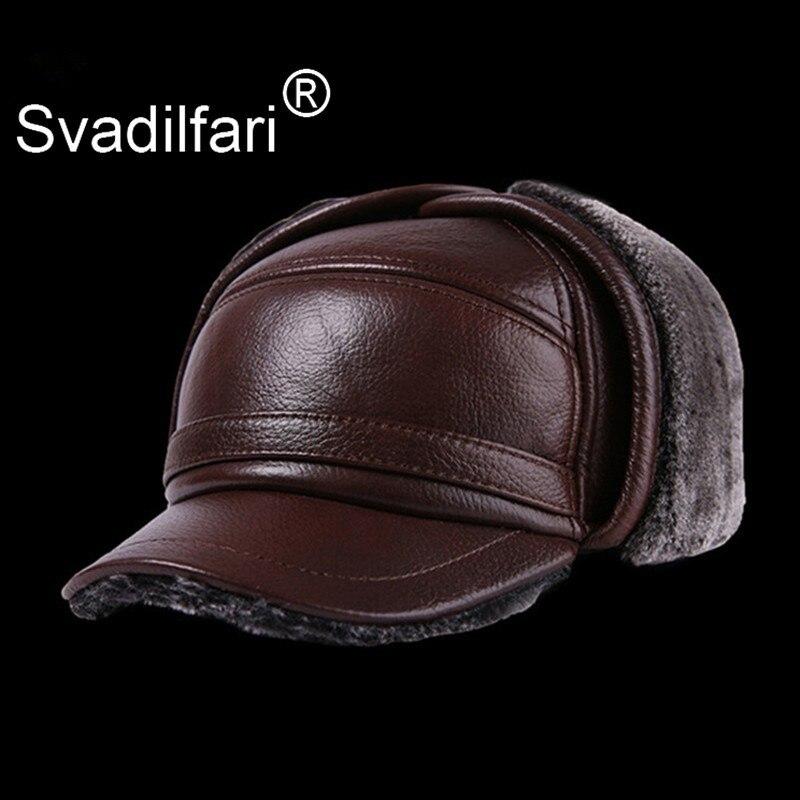Hiver hommes en cuir chapeau épaissir en cuir De vachette casquettes De Baseball avec oreilles chaud Snapback papa chapeaux Sombrero De Cuero Del Hombre