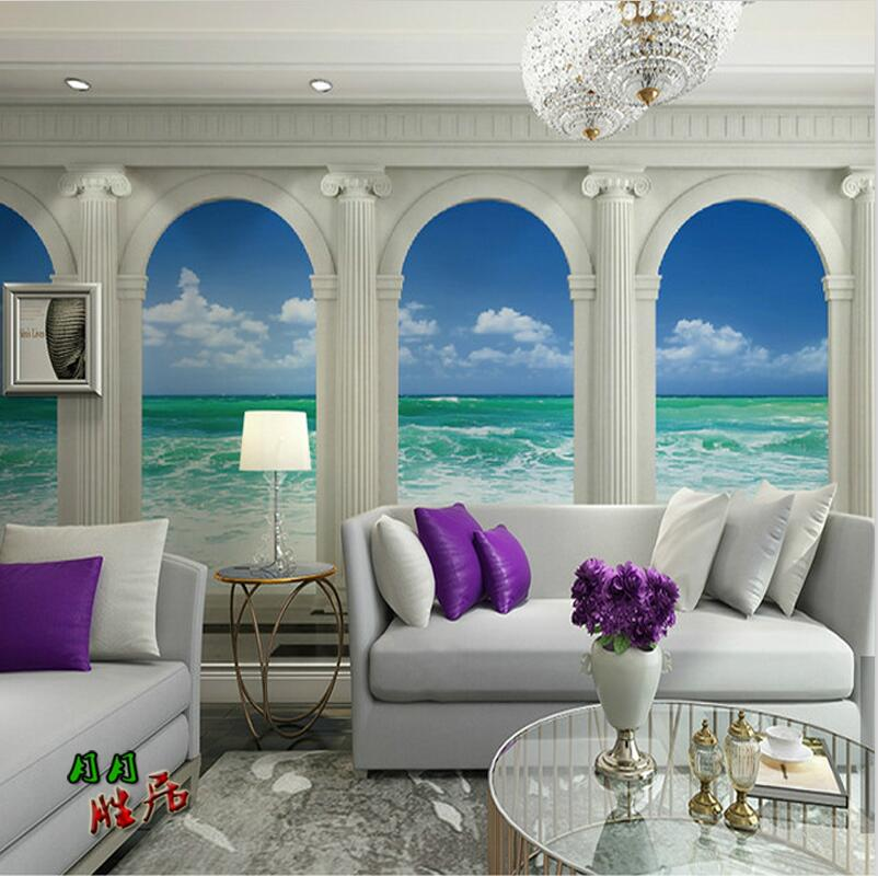 Wallpaper For Living Room 2017 2017-new-photo-wallpaper-roman-column-wallpaper-living-room-tv-seascape- wallpaper-3d-backdrop-wallpaper-wall