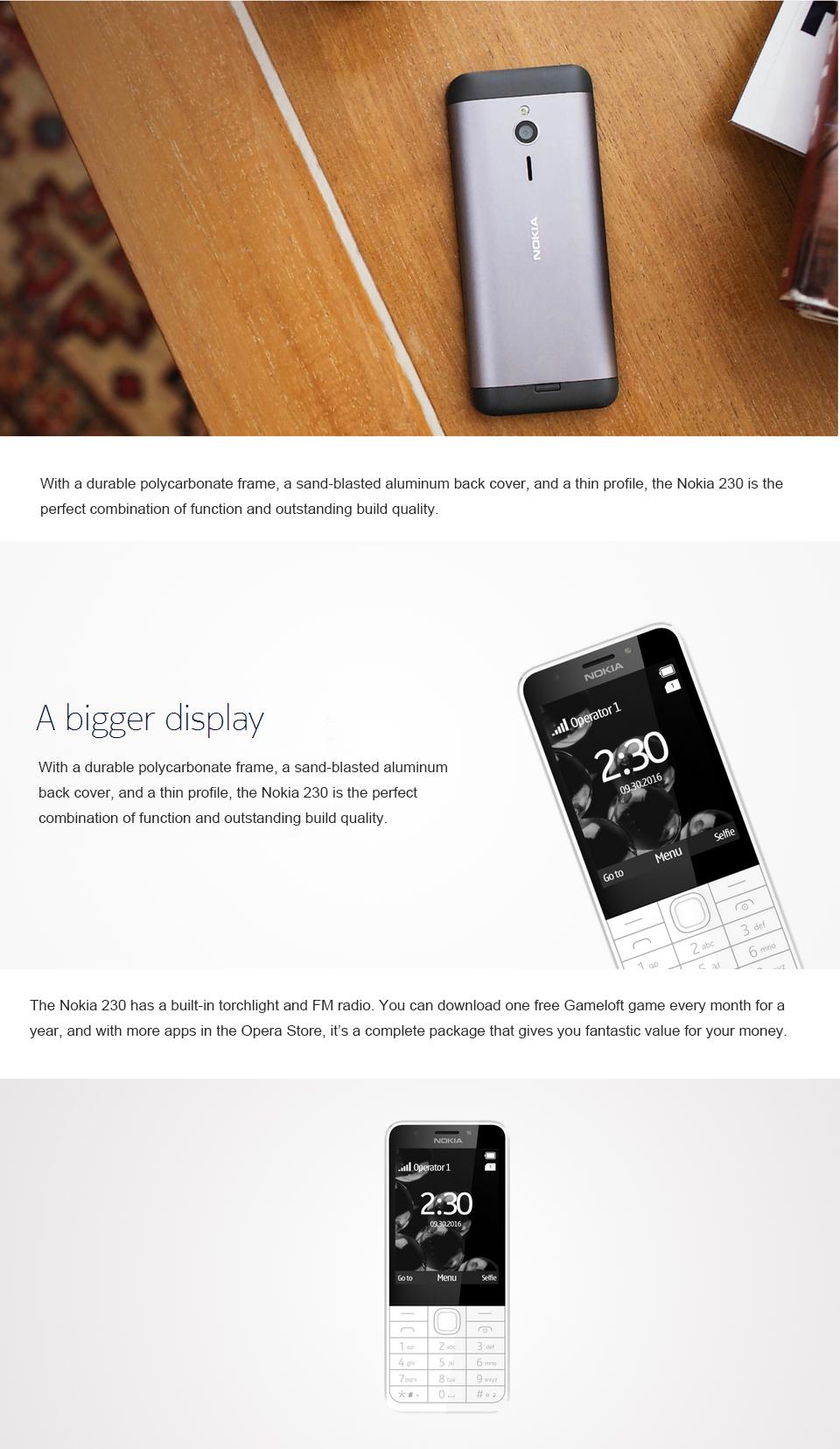 new phone Original Nokia 230 Unlocked GSM 2.8 inch Dual SIM & Single card Cards 2MP dual sim card grey 3