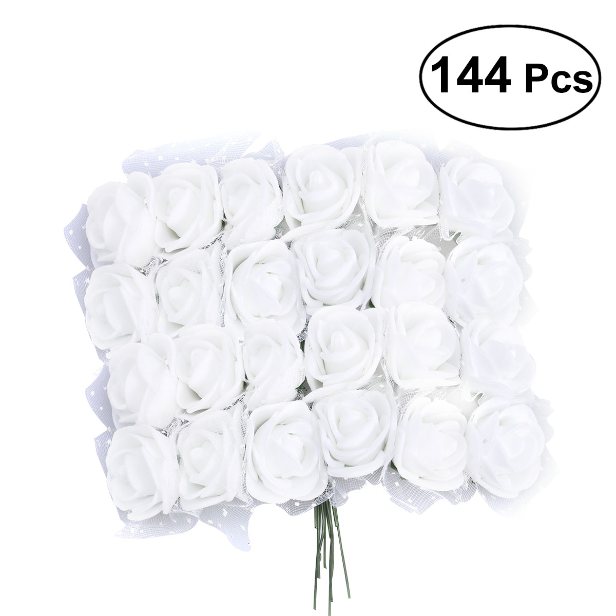 144pcs/Lot Artificial Foam Rose Flowers With Crystal Lace Wedding Bridal Party Bouquet Table Centerpiece Fake Flowers DIY Craft